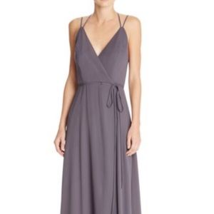 Floor length grey wrap lined gown